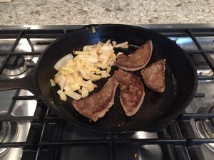 Pan fried venison liver and onions